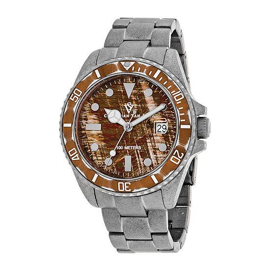 Christian Van Sant Montego Mens Brown Dial and Silver-Tone Bracelet Watch