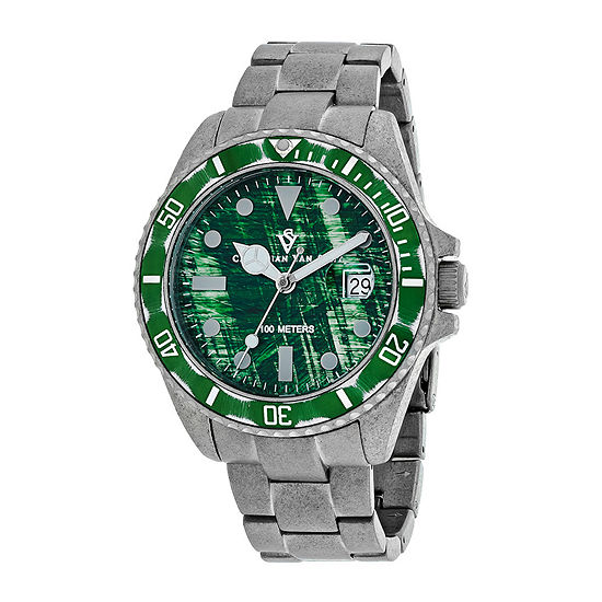 Christian Van Sant Montego Mens Green Dial and Silver-Tone Bracelet Watch