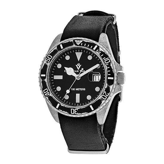 Christian Van Sant Montego Mens Black Dial and Black Leather Strap Watch