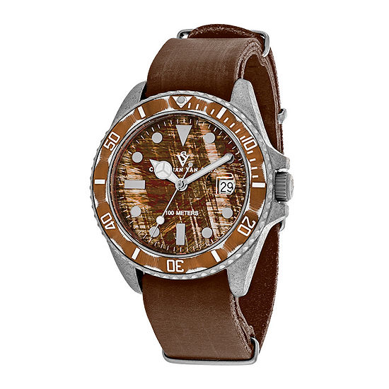 Christian Van Sant Montego Mens Brown Dial and Brown Leather Strap Watch