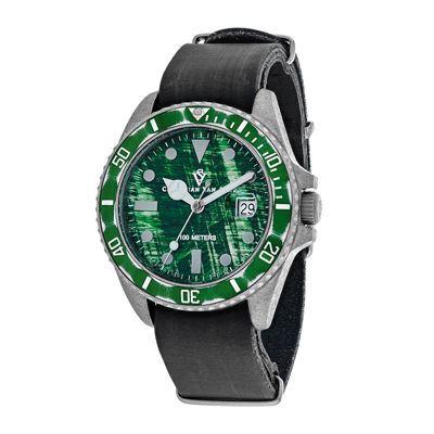 Christian Van Sant Montego Mens Green Dial and Black Leather Strap Watch