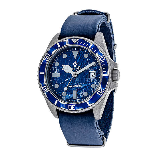 Christian Van Sant Montego Mens All Blue Leather Strap Watch