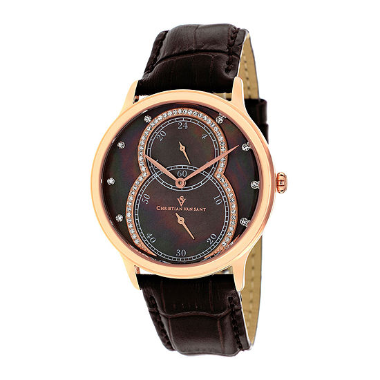 Christian Van Sant Infinie Womens Mother-of-Pearl Brown Leather Strap Watch