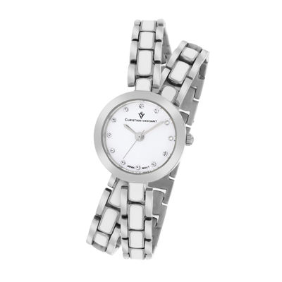 Christian Van Sant Spiral Womens White Dial and Silver-Tone Bracelet Watch