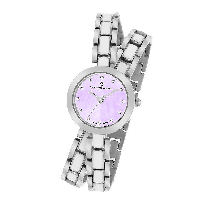 Christian Van Sant Spiral Womens Purple Dial and Silver-Tone Bracelet Watch