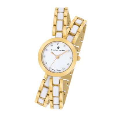 Christian Van Sant Spiral Womens White Dial and Gold-Tone Bracelet Watch