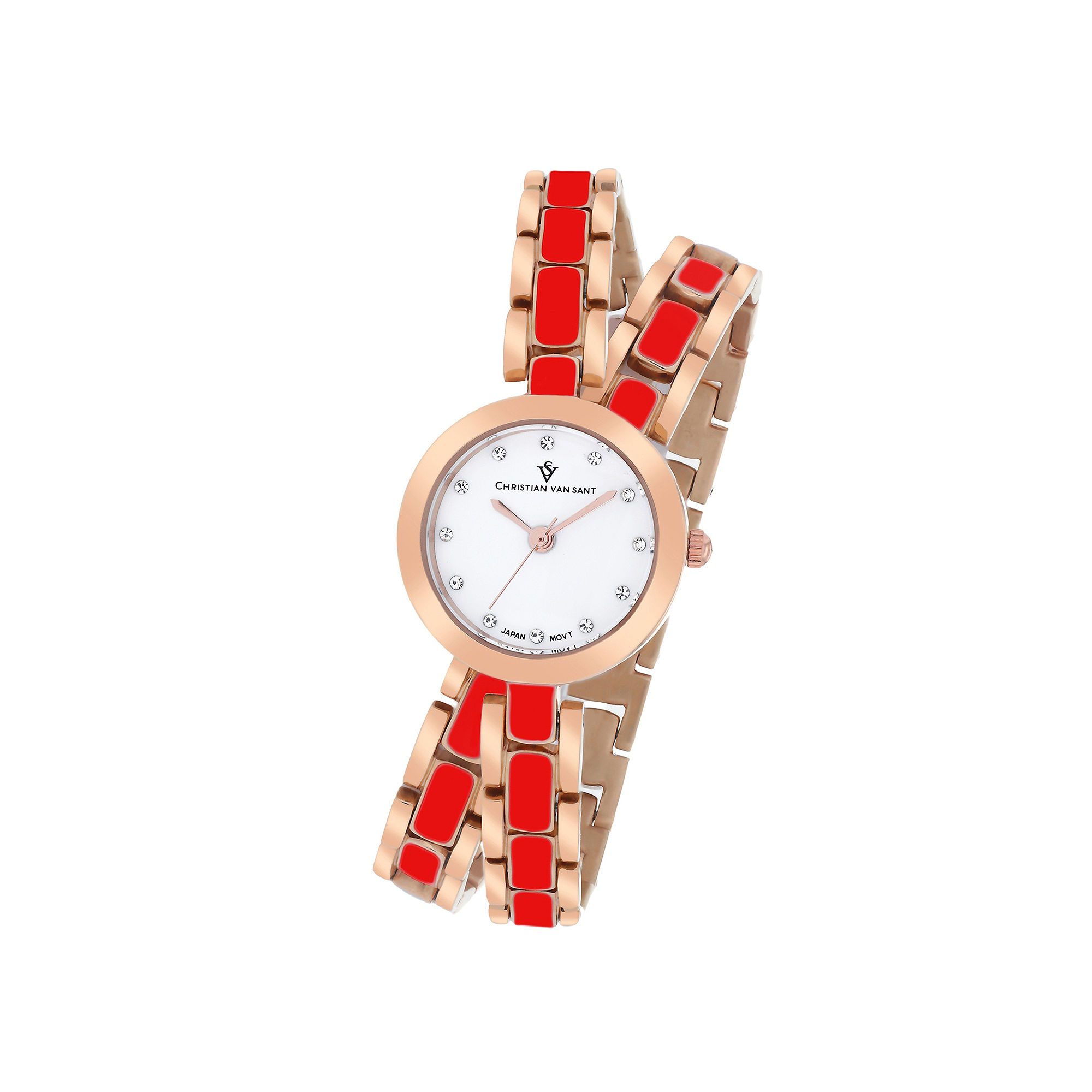 Christian Van Sant Spiral Womens Red and Rose-Tone Bracelet Watch