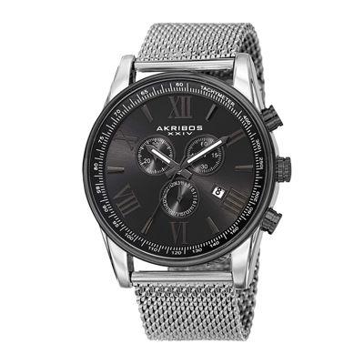Akribos XXIV Omni Mens Silver-Tone Stainless Steel Mesh Watch