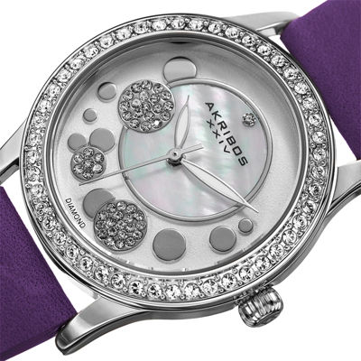 Akribos XXIV Ornate Womens Diamond Accent and Crystals Purple Leather Strap Watch