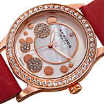 Akribos XXIV Ornate Womens Diamond Accent and Crystals Red Leather Strap Watch
