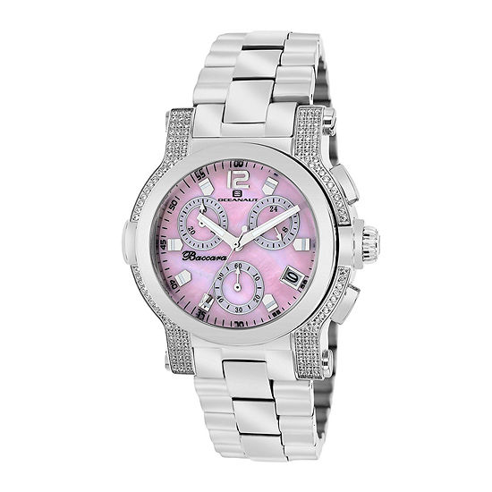 Oceanaut Baccara Womens Pink Mother Of Pearl And Silver Tone Bracelet Watch