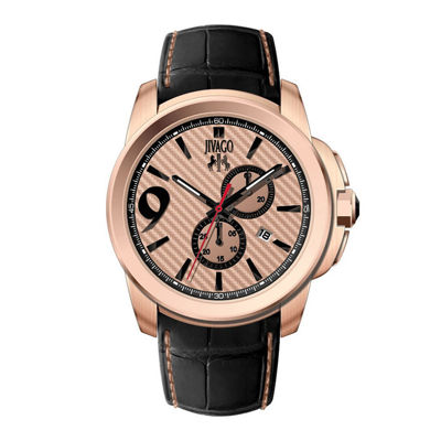 Jivago Gliese Mens Rose-Tone Dial and Black Leather Strap Watch