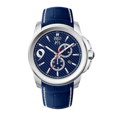 Jivago Gliese Mens All Blue Leather Strap Watch