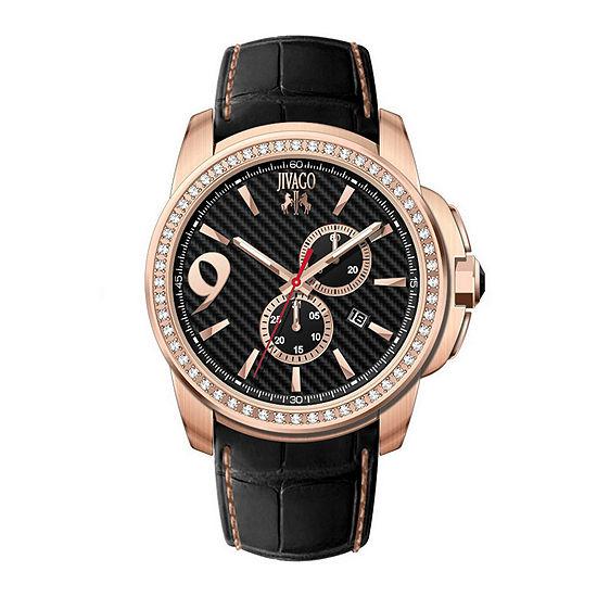 Jivago Gliese Mens All Black Leather Strap Watch