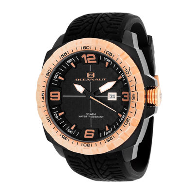 Oceanaut Mens Racer Black Silicon Strap Watch