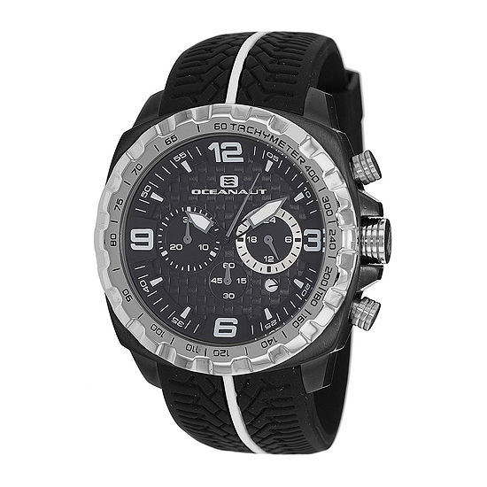 Oceanaut Mens Racer Black Chronograph Strap Watch