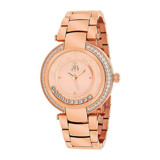 Jivago Celebrate Womens Silver Dial Rose-Tone Stainless Steel Bracelet Watch