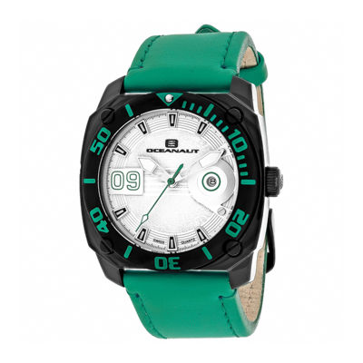 Oceanaut Mens Barletta Silver & Green Leather Strap Watch