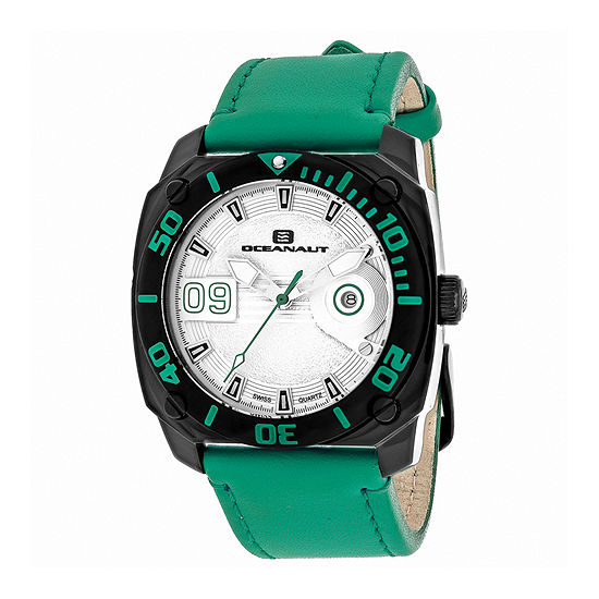 Oceanaut Mens Barletta Silver & Green Leather Strap Watch