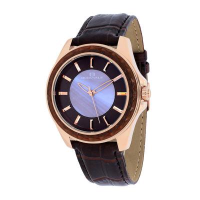 Oceanaut Womens Angel Purple Faux Pearl & Brown Leather Strap Watch