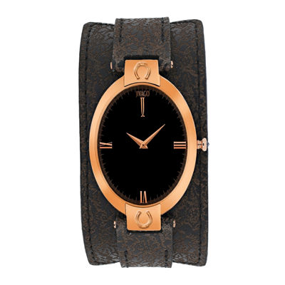 Jivago Womens Good Luck Black & Dark Brown Leather Strap Watch