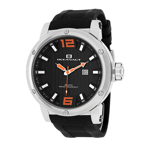 Oceanaut Spider Mens Black Dial and Black Silicone Strap Watch