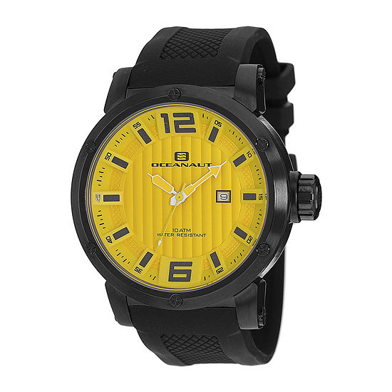 Oceanaut Spider Mens Yellow Dial and Black Silicone Strap Watch