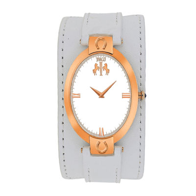 Jivago Good Luck Womens Silver-Tone Dial and White Leather Strap Watch