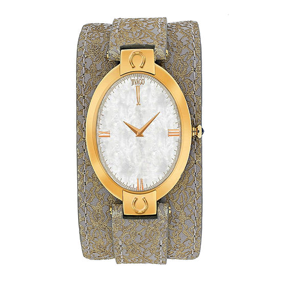 Jivago Good Luck Womens Mother-of-Pearl and Brown Leather Strap Watch