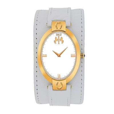 Jivago Good Luck Womens Silver-Tone and White Leather Strap Watch