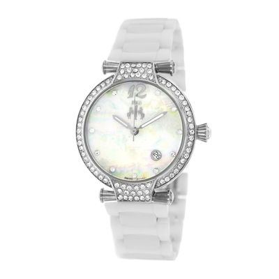Jivago Womens Bijoux White Faux Pearl Bracelet Watch