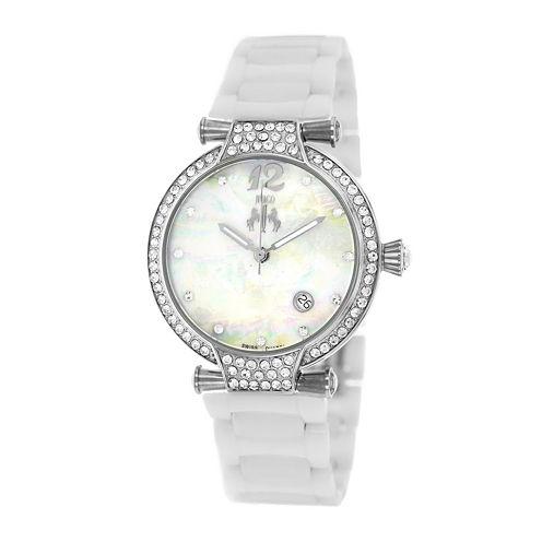 Jivago Womens Bijoux White Faux Pearl Bracelet Watch