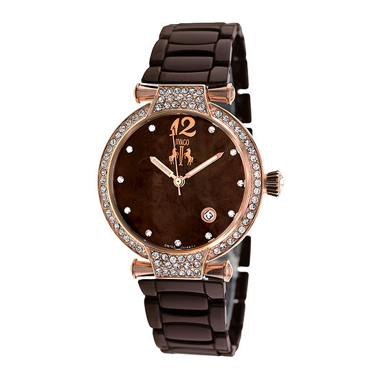 Jivago Womens Bijoux Brown Faux Pearl Bracelet Watch