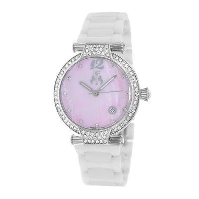 Jivago Womens Bijoux Pink Faux Pearl Dial White Ceramic Bracelet Watch
