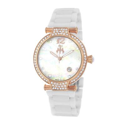 Jivago Womens Bijoux Silver Faux Pearl Dial White Ceramic Bracelet Watch