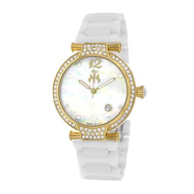 Jivago Womens Bijoux White & Silver Faux Pearl Bracelet Watch