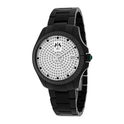 Jivago Jolie Womens Silver-Tone Dial and Black Stainless Steel Bracelet Watch