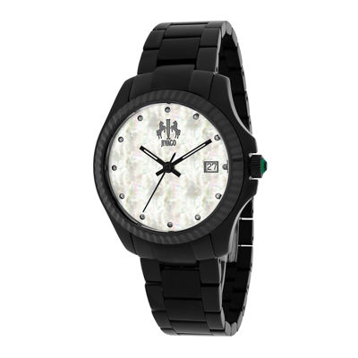 Jivago Jolie Womens Mother-of-Pearl and Black Stainless Steel Bracelet Watch