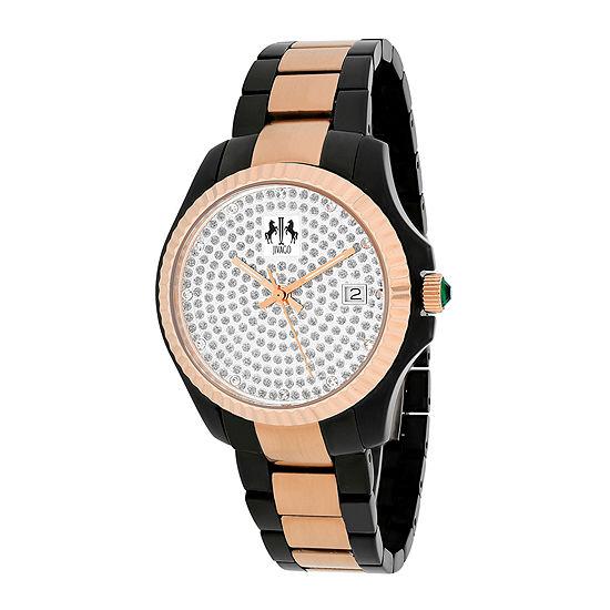 Jivago Jolie Womens Silver Tone Dial And Black Stainless Steel Bracelet Watch