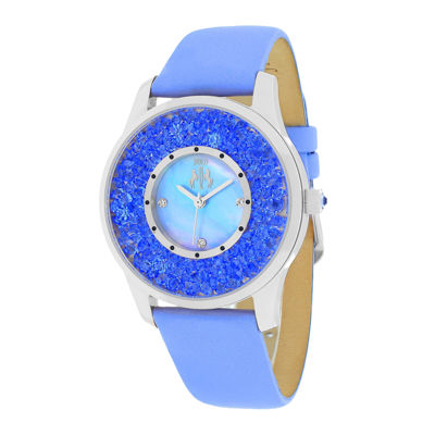 Jivago Brilliance Womens Mother-of-Pearl Purple Leather Strap Watch