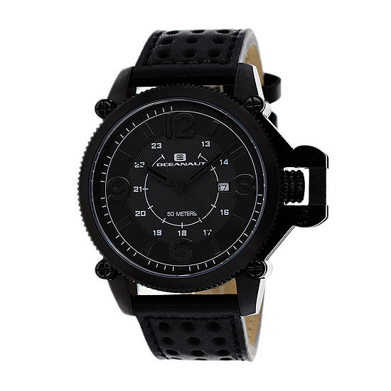 Oceanaut Scorpion Mens Black Leather Strap Watch