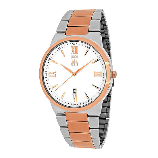 Jivago Clarity Mens Silver Tone Dial And Rose Tone Bracelet Watch