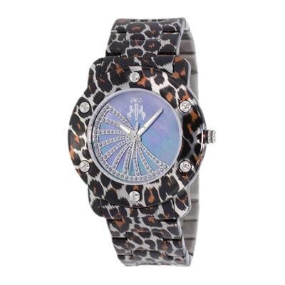 Jivago Womens Purple Faux Pearl Dial Feline Brown Stainless Steel Watch