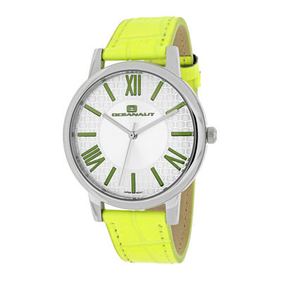 Oceanaut Womens White Dial and Green Leather Strap Watch