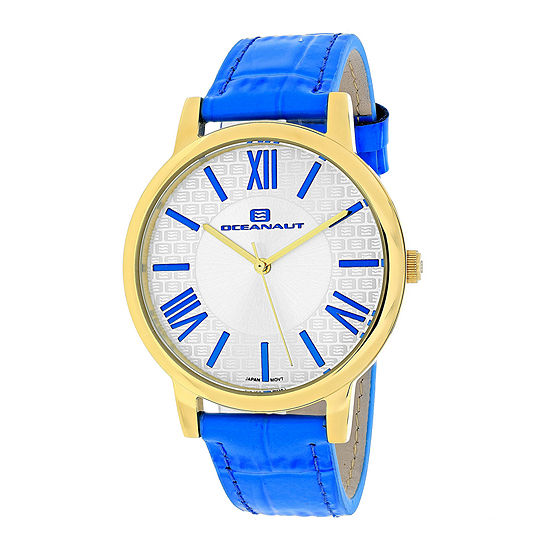 Oceanaut Womens White Dial and Blue Leather Strap Watch