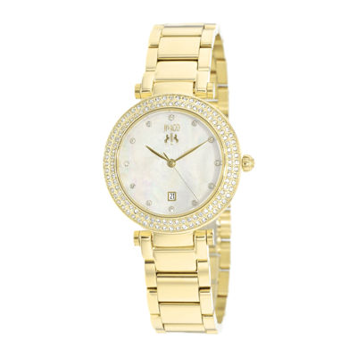 Jivago Parure Womens White Dial Gold-Tone Bracelet Watch