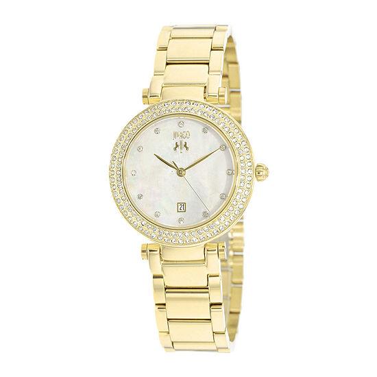 Jivago Parure Womens White Dial Gold-Tone Bracelet Watch