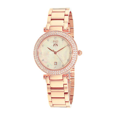 Jivago Parure Womens White Dial Rose-Tone Stainless Steel Bracelet Watch