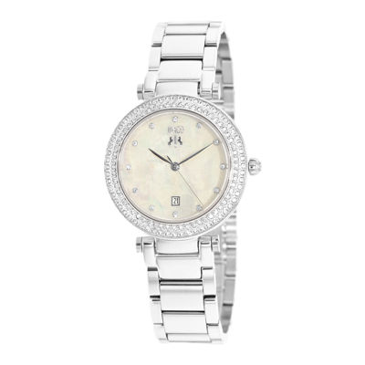 Jivago Parure Womens White Dial Stainless Steel Bracelet Watch