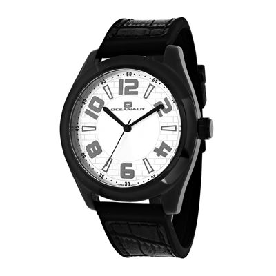 Oceanaut Vault Mens Silver-Tone and Black Silicone Strap Watch